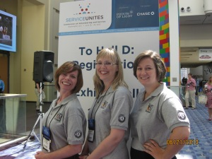 Maureen Eccleston, Becca Larew and I proudly represent AmeriCorps and Volunteer Maryland at NCVS.
